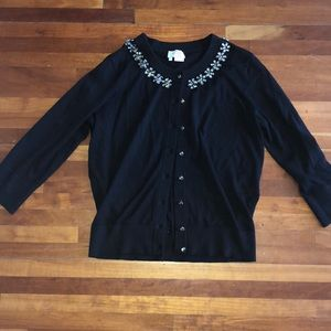 Kate Spade black cardigan with flower rhinestones